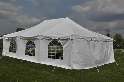 20x30 White Pole Tent Economy Party Tents 4 Sidewalls Wedding FREE SHIPPING SALE