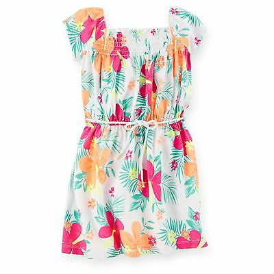 New Carter's Girls Smocked Tropical Floral Summer Dress NWT 4 Kid Jersey Cotton