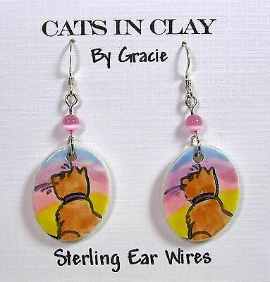 Ginger Cat Small Oval Clay Dangle Earrings Pastel Rainbow / Sterling Earwires