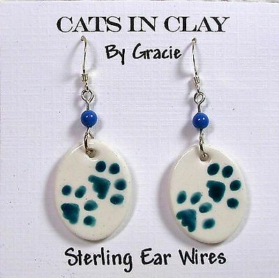 Teal Paw Prints on Small Oval French Wire Earrings  by Gracie Sterling Earwires
