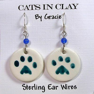 Teal Cat or Dog Paw Print Earrings Round Dangle Clay Sterling Earwires by GMS