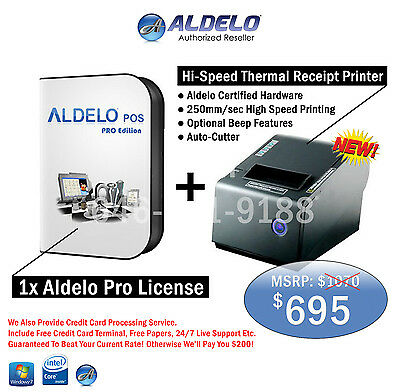 Aldelo PRO POS For Restaurants POS Software W. Free Thermal Printer And Support