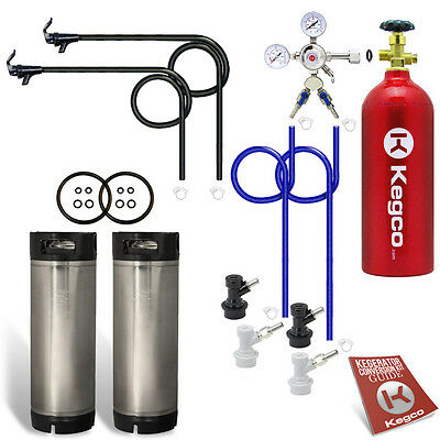 Two Keg Ball Lock Homebrew Party Kegerator Kit with 5 lb. CO2 Tank