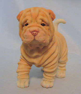 "Shar Pei Puppy Figurine Dog Wrinkly Breed Sculpture Statue NIB 4.5"" Long Pets"