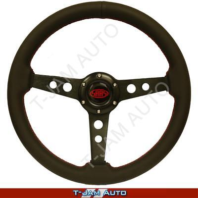 SAAS Genuine Retro Leather Black Steering Wheel 350mm Slight Dish NEW