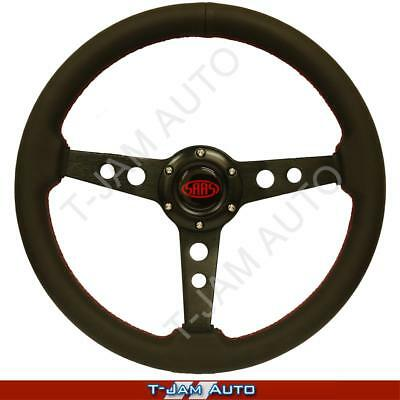 SAAS Genuine Retro Leather Black Steering Wheel 350mm ADR Approved NEW