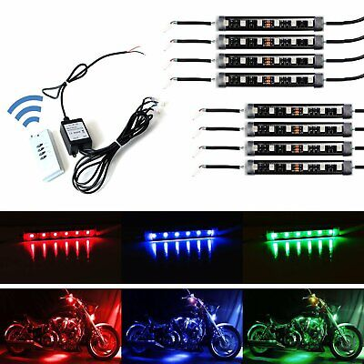 8pcs RGB Multi-Color LED Motorcycle Ground Effect Light Kit w/ Wireless Remote