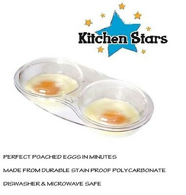 Microwave Oven Egg Poacher Cooker Twin 2 Poach Cups + Lid Clear by Kitchen Stars