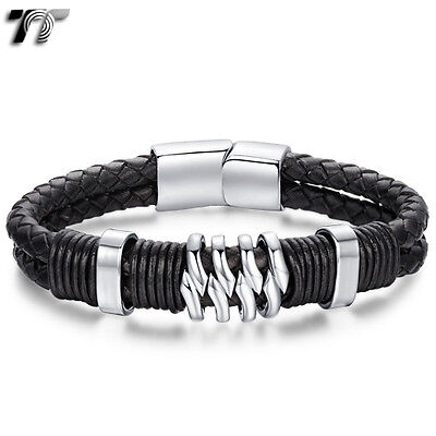 TT Two-Row Black Leather 316L Stainless Steel Bracelet Wristband (BR196) NEW