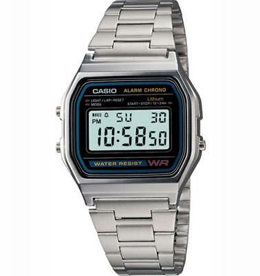 Unisex Mens Womens Watch CASIO A158WA-1DF VINTAGE Classic Steel Alarm DD