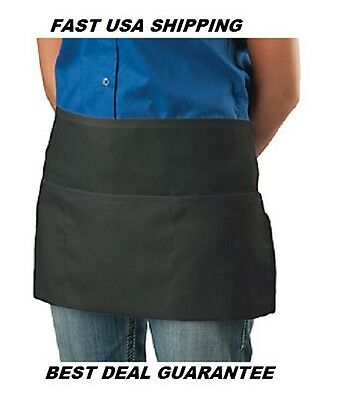 1 Black 3 Pocket Usa Fast Ship Restaurant Waiter Server Barista Waist Apron