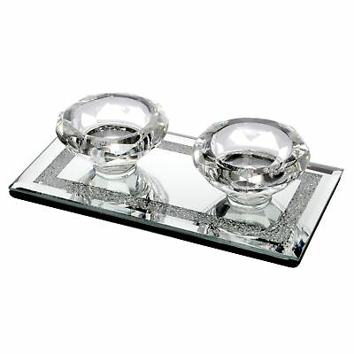 Diamond Shape Twin Tealight Candle Holder Glass Mirrored Diamante Ornament Gift