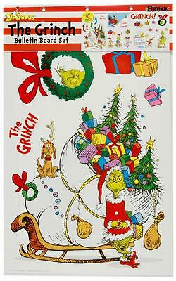 Dr. Seuss THE GRINCH Christmas Wall Decor Bulletin Board Set 30 Stockings 847653