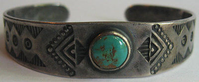 Vintage Navajo Indian Stamped Designs Silver Turquoise Cuff Bracelet