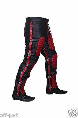 REAL LEATHER MENS BLACK & RED JEANS Goth Bondage Clubwear Genuine Cow Leather