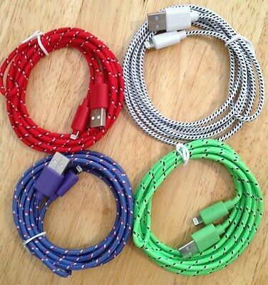 4x 6ft 2M COLOR Long BRAIDED Charger Cable FITS iPhone 6+ 8 5c 5s 6 6s 7 7+ SE