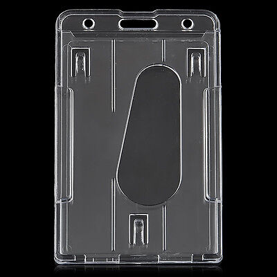 10 x6 Transparent  ID Card Badge Holder Clear Badge ID Cover Hard Plastic New