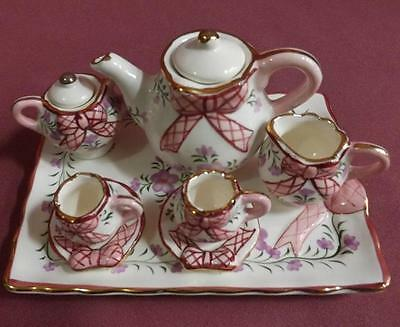 **Collectable miniature ceramic tea set ** New**Gorgeous pink Bow design**