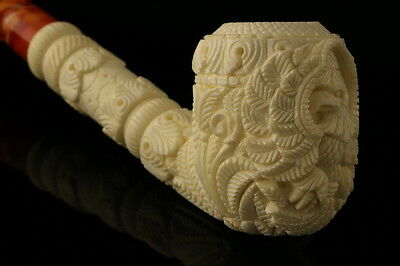 Eagle Hand Carved Block Meerschaum Pipe by Mesut in a fit  case 6902