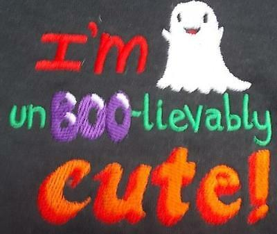 Black Baby Vest / Bodysuit  Embroidered I'm Un-BOO-lievably Cute 3-6 months