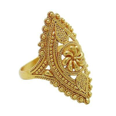 Ethnic Traditional Indian Gold Plated Ring Size US 6.5 Women Bollywood Jewellery