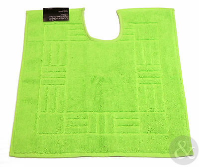 Soft Bathroom Pedestal Mat in Lime Green - 100% Egyptian Cotton - Washable