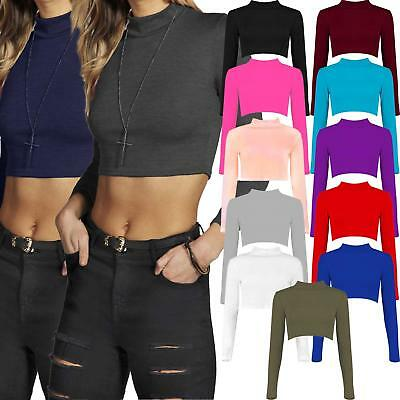 Womens Ladies Turtle Polo Neck Crop Top Long Sleeve Short Plain