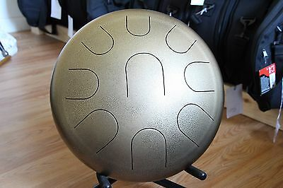 "Ajna 14"" 9 Tone Hammered Gold Steel Tongue Drum +Case G Dorian Scale USA Made"