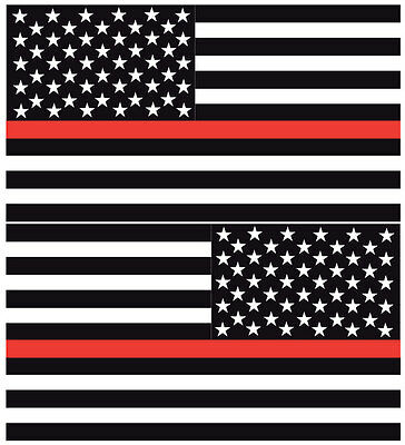 "Firefighter Reflective Thin Red Line American Flags Mirrored 3""-  Decals"