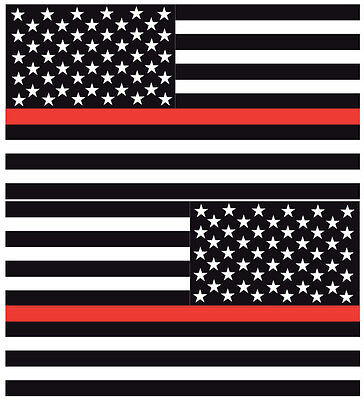 "Reflective Thin Red Line American Flags Mirrored 3""- FIREFIGHTER DECAL"