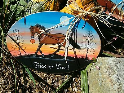 Hand Painted Bay Quarter Horse Halloween Trick or Treat Wood Barn Sign