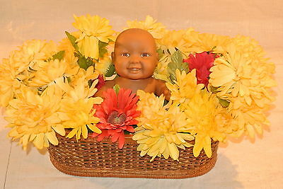 African American Berenguer Baby Surrounded by Flowers in a Basket