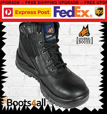 Mongrel Womens Work Boots Black Safety Steel Toe Cap ZIP Side Lightweight 261020