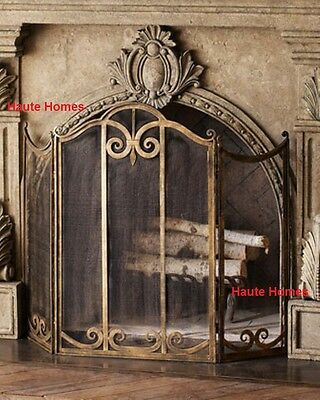 NEW Horchow FRENCH THREE Panels SCROLL Gold Fireplace Screen MESH backing