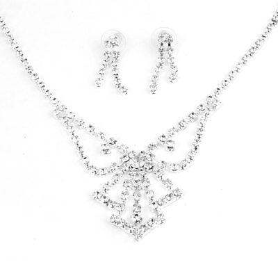 Women Adjustable Silver Tone Necklace w Pair Earrings