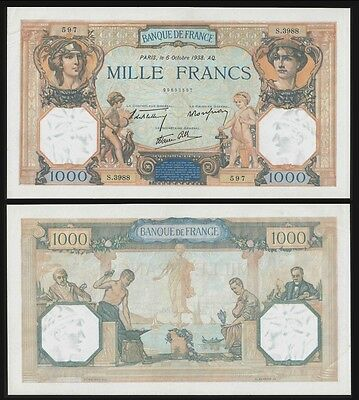 France 1000 Francs CÉRÈS & MERCURE 6.10.1938 P 90c aUNC