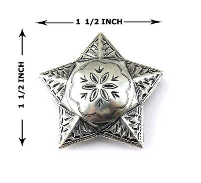 """Conchos Lot Of 6 Pcs Windrose Star Ranger Antique Silver Leather Craft 1 1/2 """""""