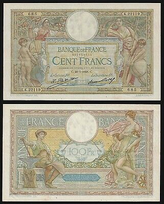 France 100 Francs MERSON 20.7.1928 P 78b VF