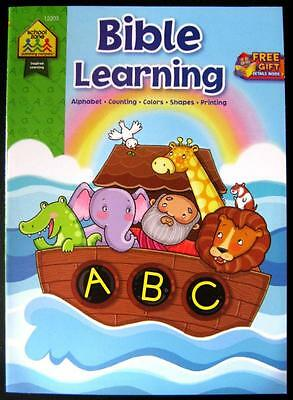 BIBLE LEARNING ABC Counting Colors Shapes 96 Page Religious Activity Book NEW