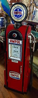 NEW Reproduction Tin AMPOL Vintage Gas Pump, Clock and Cabinet
