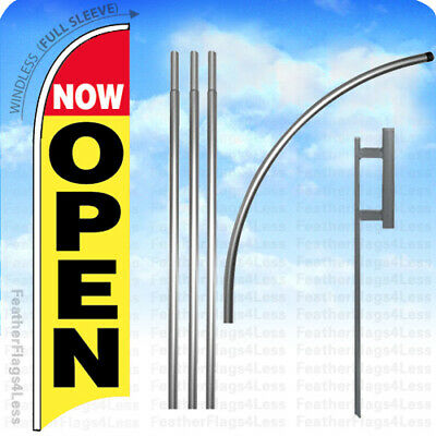 WINDLESS Swooper Feather Full Sleeve Banner Sign Flag KIT - NOW OPEN yb