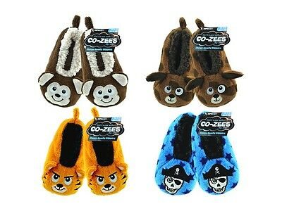 Boys Girls Childrens Super Soft Co-Zees Sherpa Novelty 3D Slippers size uk 9-12