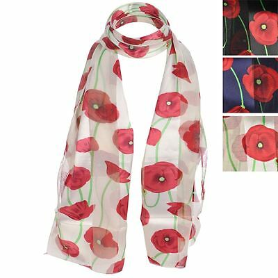 Ladies Remembrance Day Floral Poppies Printed Poppy Scarf Wrap