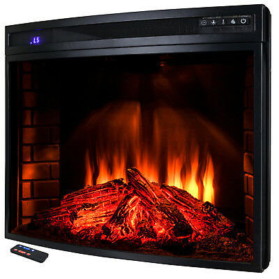 "33"" Freestanding Electric Fireplace Heater /w Remote LED Backlit Adjustable"