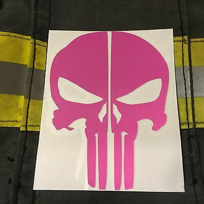 Punisher Skull Reflective Fire Helmet Decals Fire Helmet Sticker - Pink