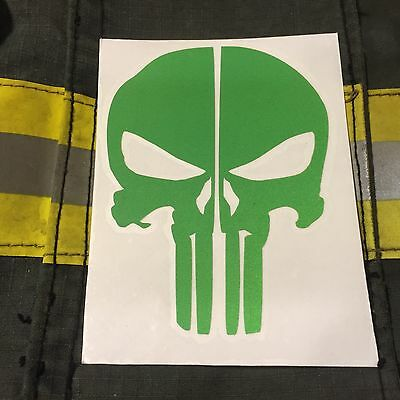 Punisher Skull Reflective Fire Helmet Decals Fire Helmet Sticker - Green