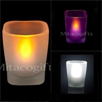 Oz LED Tealight Candle + Candle Holders- Batteries Inc.White, Blue Or Purple