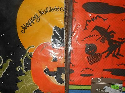 VINTAGE HALLOWEEN PAPER TABLECLOTH LOT OF 2~WITCH CAT IN JOL~REED'S~BOTH SEALED