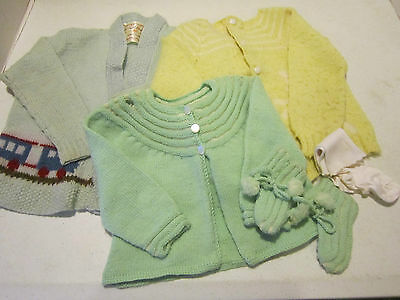 Vintage 1950's small childs hand knit sweaters-train & lamb motif