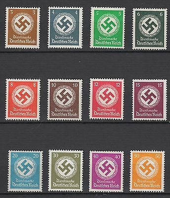 WWII  Third Reich Service Stamps Full Set  Michel 132/143 Swastika MNH Luxe